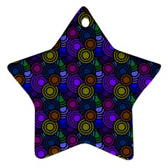Circles Color Yellow Purple Blu Pink Orange Star Ornament (Two Sides)
