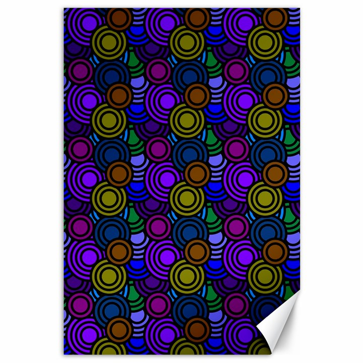 Circles Color Yellow Purple Blu Pink Orange Canvas 12  x 18