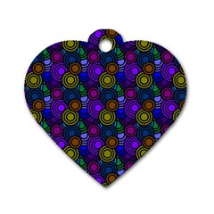 Circles Color Yellow Purple Blu Pink Orange Dog Tag Heart (Two Sides)