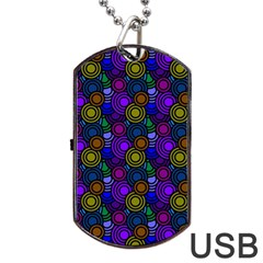 Circles Color Yellow Purple Blu Pink Orange Dog Tag USB Flash (One Side)