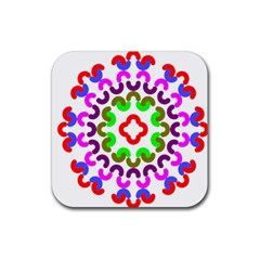 Decoration Red Blue Pink Purple Green Rainbow Rubber Square Coaster (4 Pack)