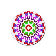 Decoration Red Blue Pink Purple Green Rainbow Rubber Round Coaster (4 pack)