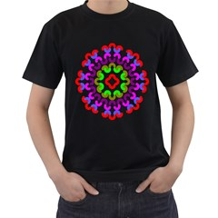 Decoration Red Blue Pink Purple Green Rainbow Men s T-Shirt (Black) (Two Sided)