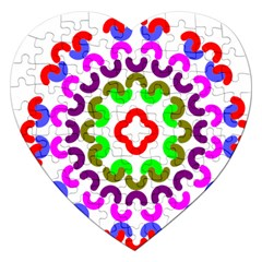 Decoration Red Blue Pink Purple Green Rainbow Jigsaw Puzzle (Heart)