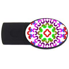 Decoration Red Blue Pink Purple Green Rainbow USB Flash Drive Oval (4 GB)