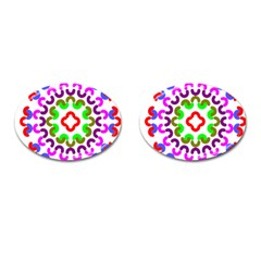 Decoration Red Blue Pink Purple Green Rainbow Cufflinks (Oval)