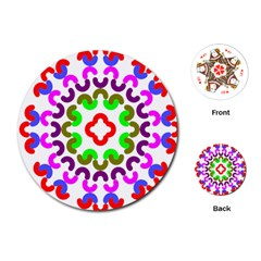 Decoration Red Blue Pink Purple Green Rainbow Playing Cards (Round)