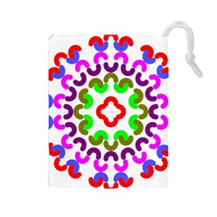 Decoration Red Blue Pink Purple Green Rainbow Drawstring Pouches (Large)