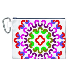 Decoration Red Blue Pink Purple Green Rainbow Canvas Cosmetic Bag (L)