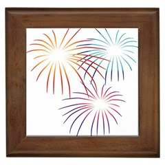 Fireworks Orange Blue Red Pink Purple Framed Tiles