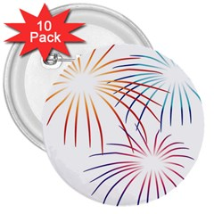 Fireworks Orange Blue Red Pink Purple 3  Buttons (10 pack)