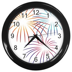 Fireworks Orange Blue Red Pink Purple Wall Clocks (black)