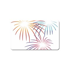 Fireworks Orange Blue Red Pink Purple Magnet (Name Card)