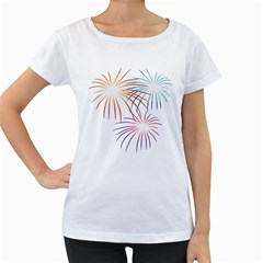 Fireworks Orange Blue Red Pink Purple Women s Loose Fit T Shirt (white)