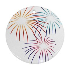 Fireworks Orange Blue Red Pink Purple Round Ornament (Two Sides)