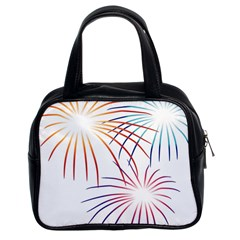 Fireworks Orange Blue Red Pink Purple Classic Handbags (2 Sides)