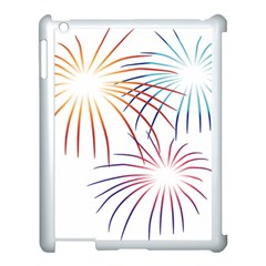 Fireworks Orange Blue Red Pink Purple Apple iPad 3/4 Case (White)