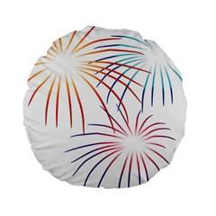 Fireworks Orange Blue Red Pink Purple Standard 15  Premium Round Cushions