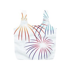 Fireworks Orange Blue Red Pink Purple Full Print Recycle Bags (S)