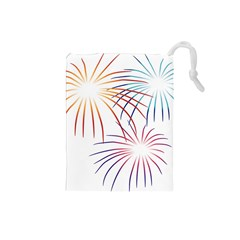 Fireworks Orange Blue Red Pink Purple Drawstring Pouches (Small)