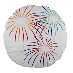 Fireworks Orange Blue Red Pink Purple Large 18  Premium Flano Round Cushions