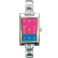 Flag Color Pink Blue Rectangle Italian Charm Watch