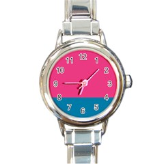 Flag Color Pink Blue Round Italian Charm Watch
