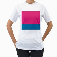 Flag Color Pink Blue Women s T Shirt (white) (two Sided)
