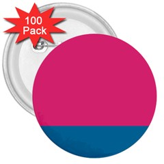 Flag Color Pink Blue 3  Buttons (100 pack)