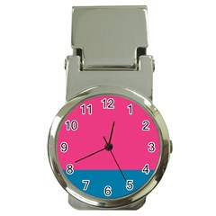 Flag Color Pink Blue Money Clip Watches