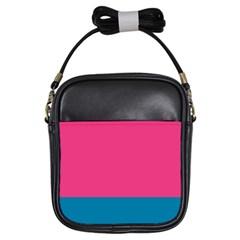 Flag Color Pink Blue Girls Sling Bags