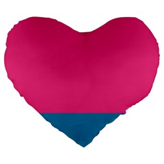Flag Color Pink Blue Large 19  Premium Heart Shape Cushions