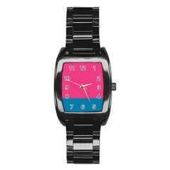 Flag Color Pink Blue Stainless Steel Barrel Watch