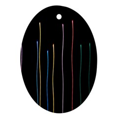 Falling Light Lines Color Pink Blue Yellow Ornament (Oval)