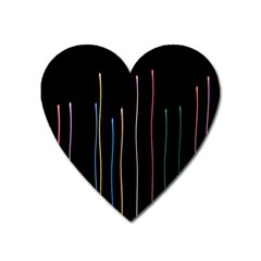 Falling Light Lines Color Pink Blue Yellow Heart Magnet