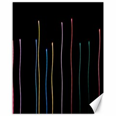 Falling Light Lines Color Pink Blue Yellow Canvas 11  x 14