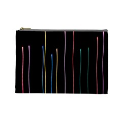 Falling Light Lines Color Pink Blue Yellow Cosmetic Bag (Large)