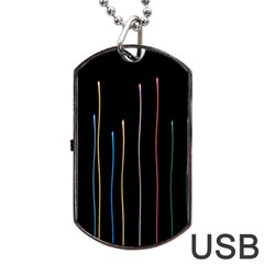 Falling Light Lines Color Pink Blue Yellow Dog Tag USB Flash (One Side)