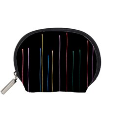 Falling Light Lines Color Pink Blue Yellow Accessory Pouches (Small)