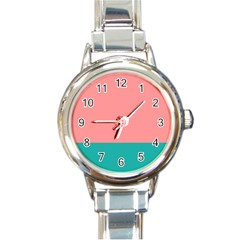 Flag Color Pink Blue Line Round Italian Charm Watch