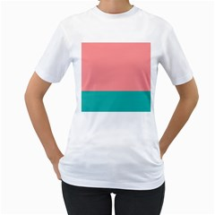 Flag Color Pink Blue Line Women s T Shirt (white) (two Sided)