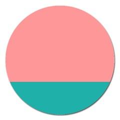 Flag Color Pink Blue Line Magnet 5  (Round)