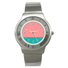 Flag Color Pink Blue Line Stainless Steel Watch