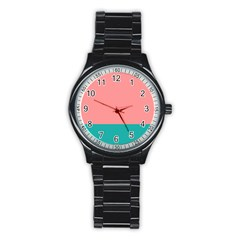 Flag Color Pink Blue Line Stainless Steel Round Watch