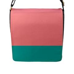 Flag Color Pink Blue Line Flap Messenger Bag (L)
