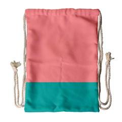 Flag Color Pink Blue Line Drawstring Bag (Large)