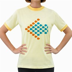 Fish Arrow Orange Blue Women s Fitted Ringer T-Shirts