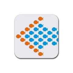 Fish Arrow Orange Blue Rubber Coaster (Square)