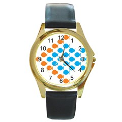 Fish Arrow Orange Blue Round Gold Metal Watch