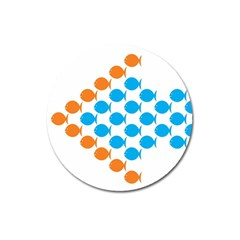 Fish Arrow Orange Blue Magnet 3  (Round)